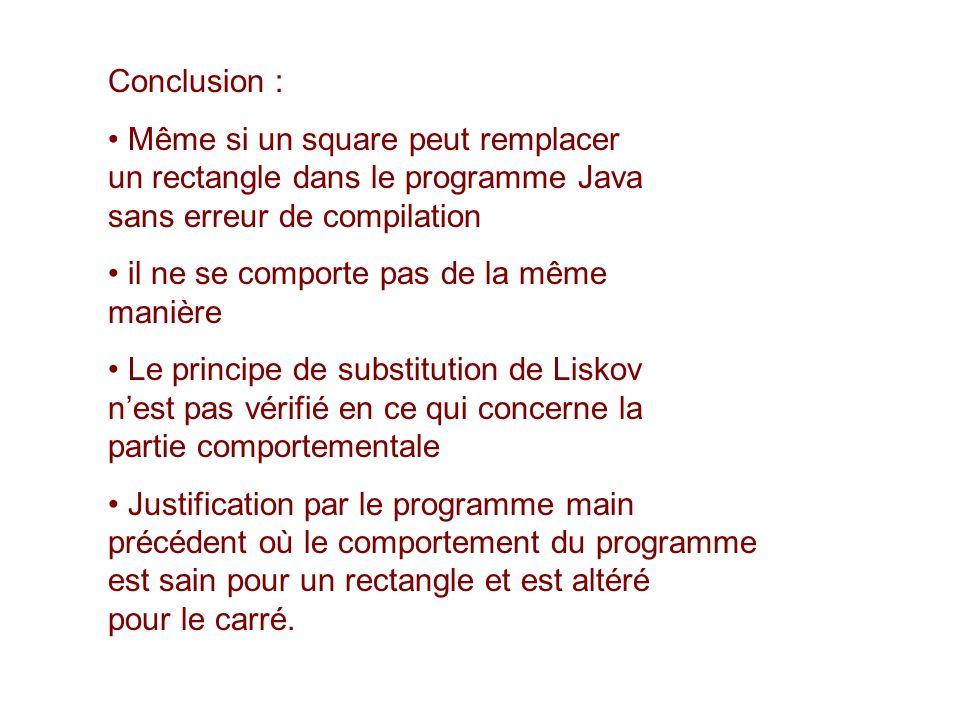 Conclusion : Même si un square peut remplacer un rectangle dans le programme Java sans erreur de compilation il ne se comporte pas de la même manière