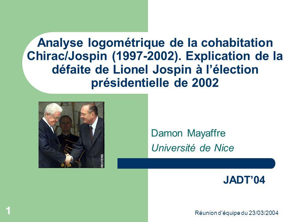 Réunion d équipe du 23/03/2004 1 Analyse logométrique de la cohabitation Chirac/Jospin (1997-2002).