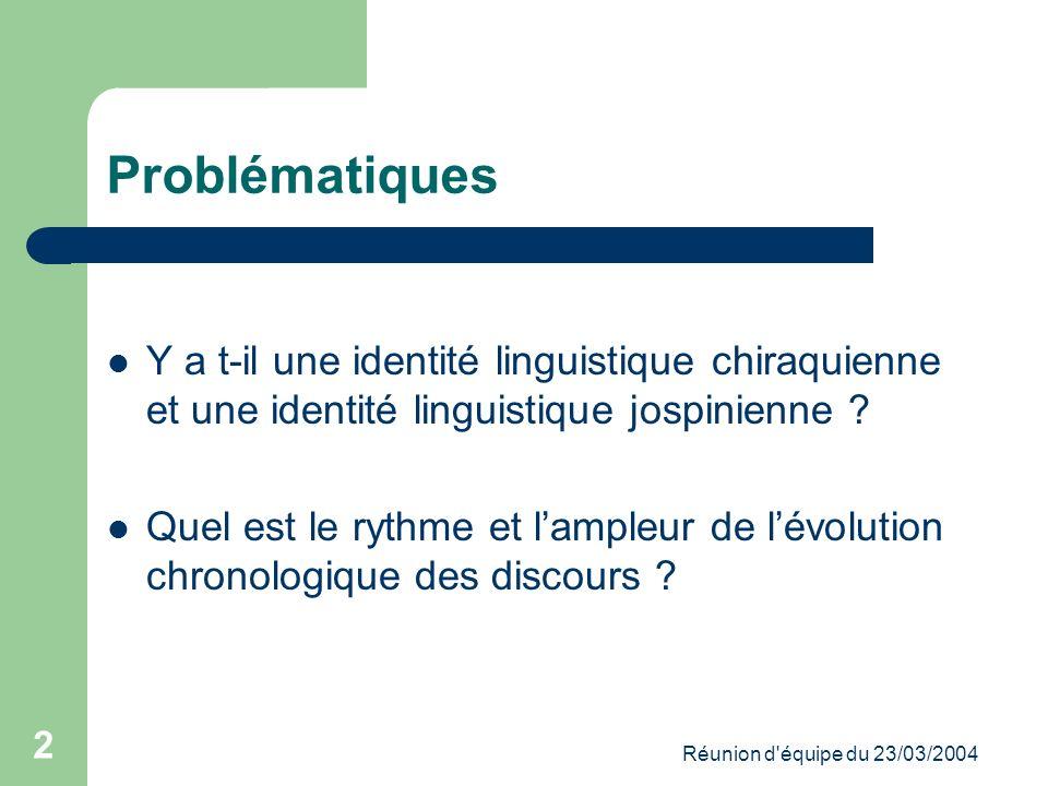 Réunion d équipe du 23/03/2004 2 Problématiques Y a t-il une identité linguistique chiraquienne et une identité linguistique jospinienne .