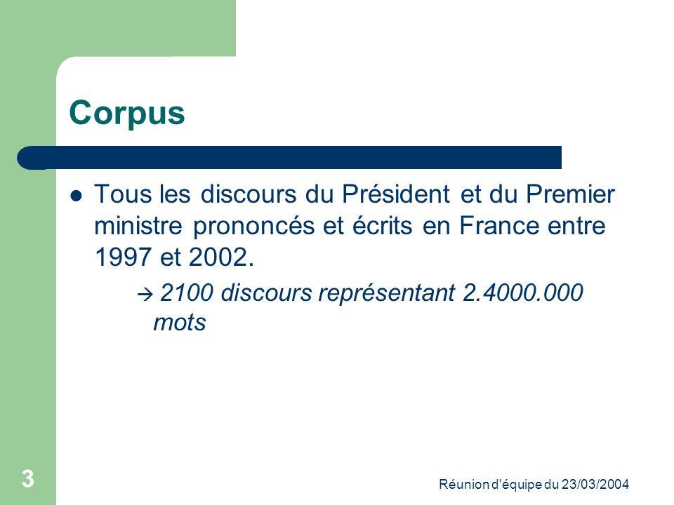 Réunion d équipe du 23/03/2004 3 Corpus Tous les discours du Président et du Premier ministre prononcés et écrits en France entre 1997 et 2002.