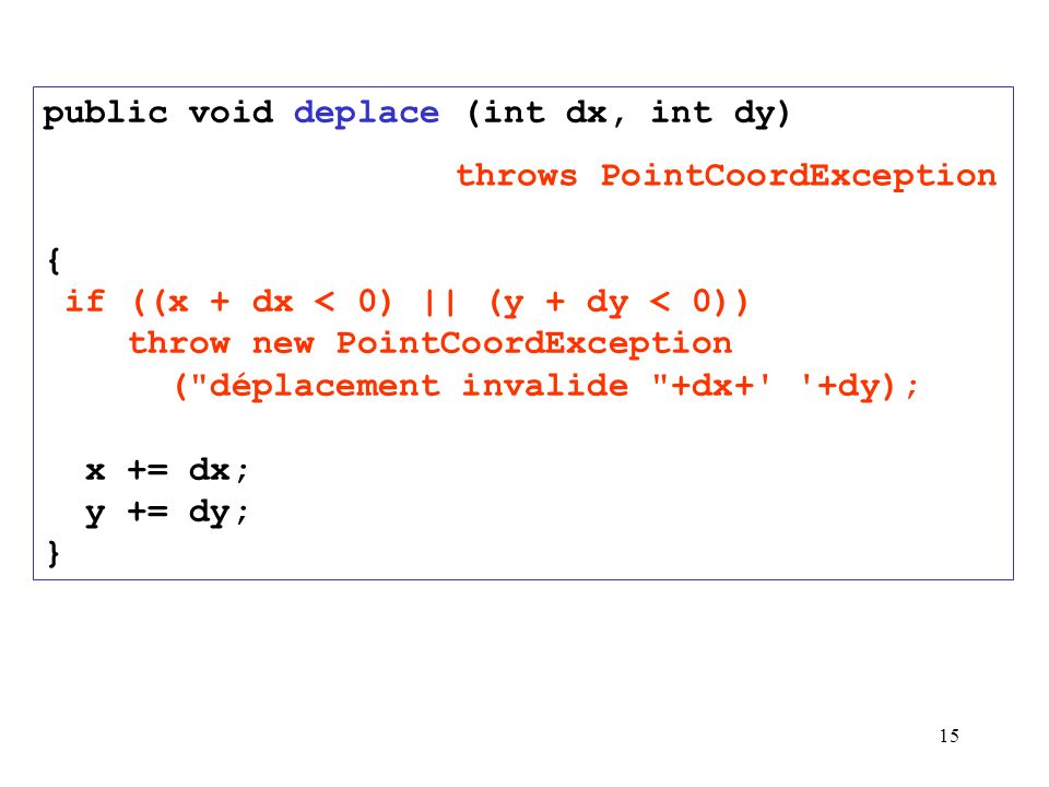 15 public void deplace (int dx, int dy) { if ((x + dx < 0) || (y + dy < 0)) throw new PointCoordException ( déplacement invalide +dx+ +dy); x += dx; y += dy; } throws PointCoordException