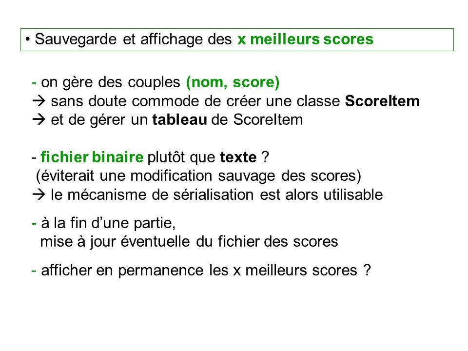 Sauvegarde et affichage des x meilleurs scores - on gère des couples (nom, score) sans doute commode de créer une classe ScoreItem et de gérer un tableau de ScoreItem - fichier binaire plutôt que texte .