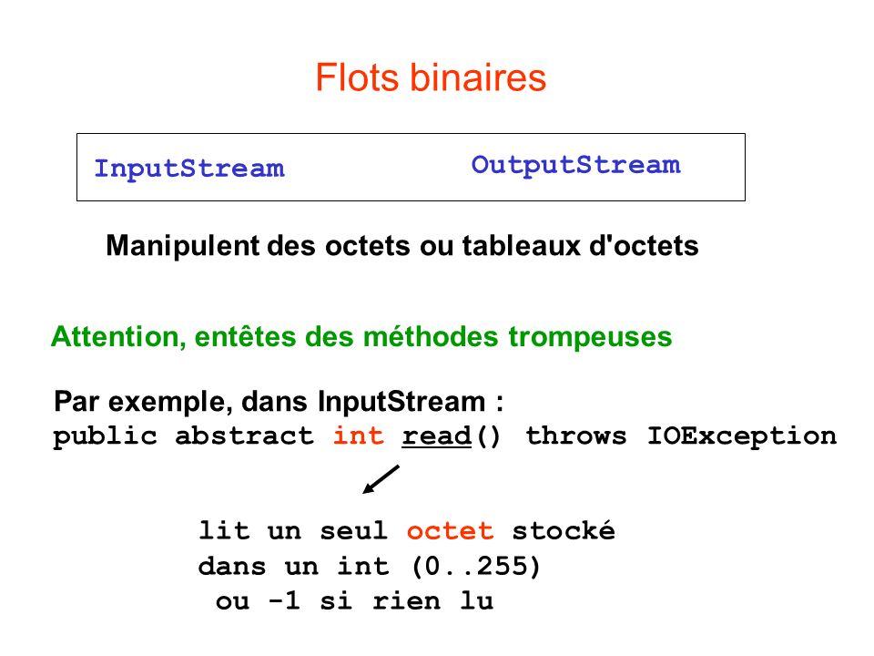 Flots binaires InputStream OutputStream Manipulent des octets ou tableaux d octets Attention, entêtes des méthodes trompeuses Par exemple, dans InputStream : public abstract int read() throws IOException lit un seul octet stocké dans un int (0..255) ou -1 si rien lu