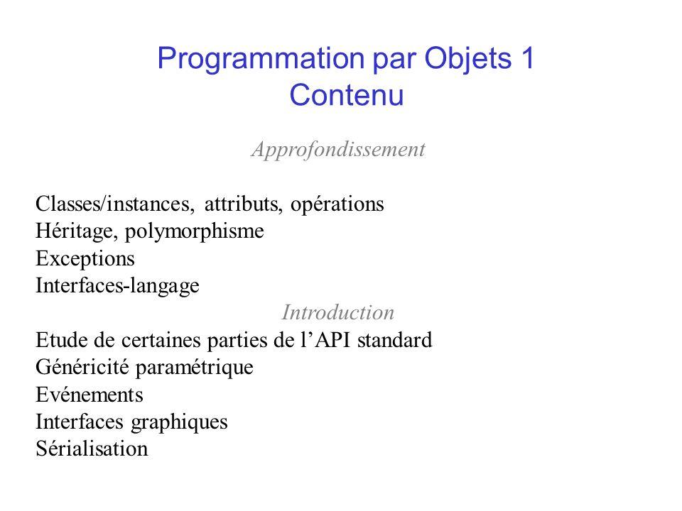 Programmation par Objets 1 Contenu Approfondissement Classes/instances, attributs, opérations Héritage, polymorphisme Exceptions Interfaces-langage In