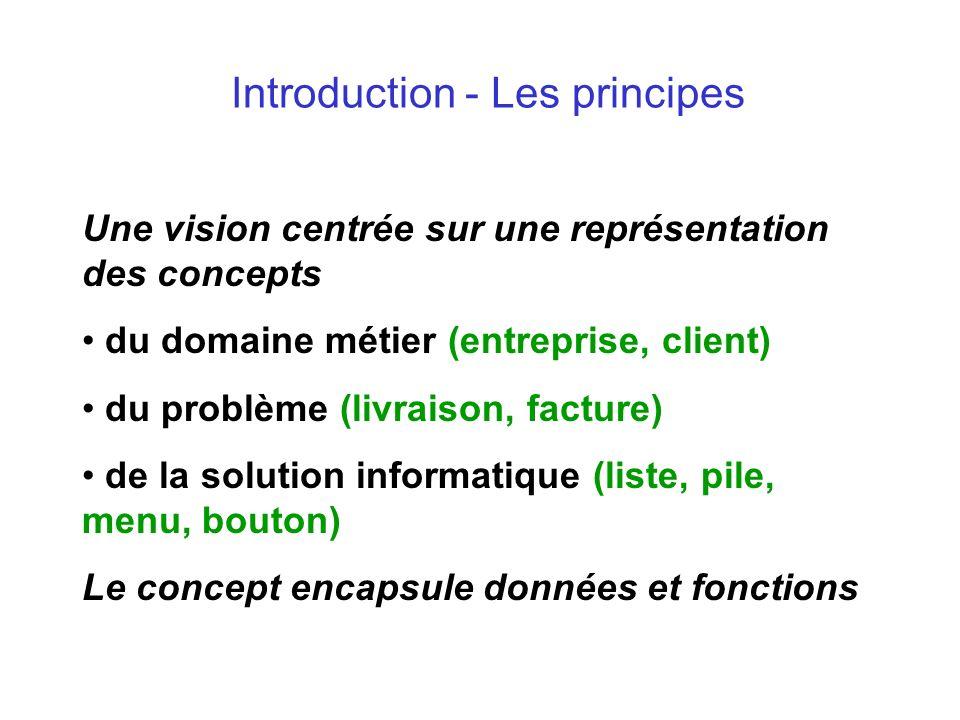 Introduction - Les principes Une vision centrée sur une représentation des concepts du domaine métier (entreprise, client) du problème (livraison, fac