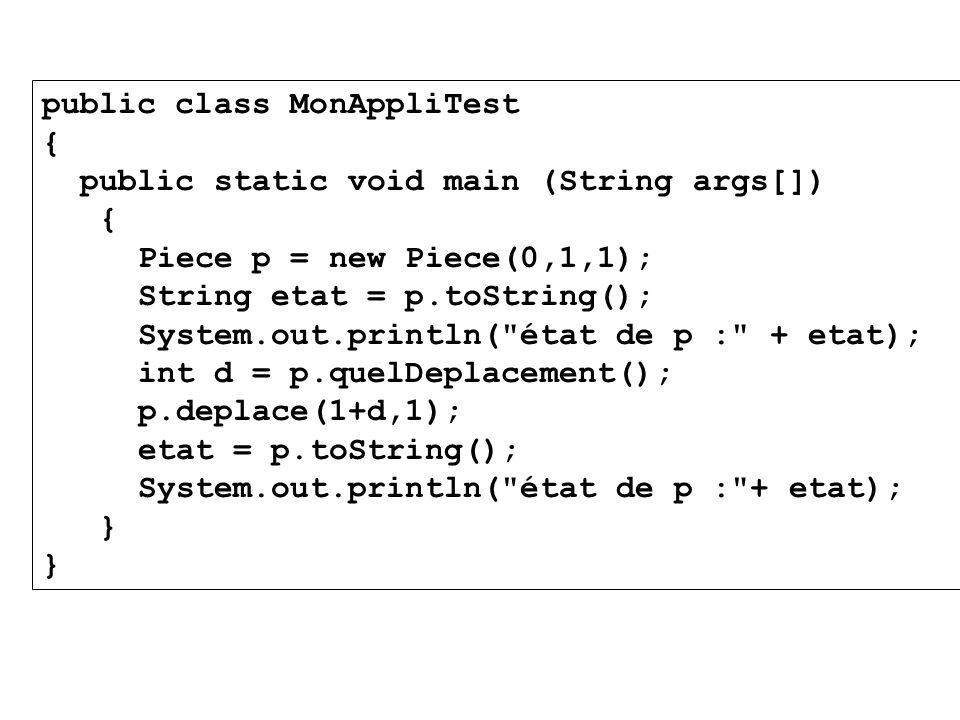 public class MonAppliTest { public static void main (String args[]) { Piece p = new Piece(0,1,1); String etat = p.toString(); System.out.println(