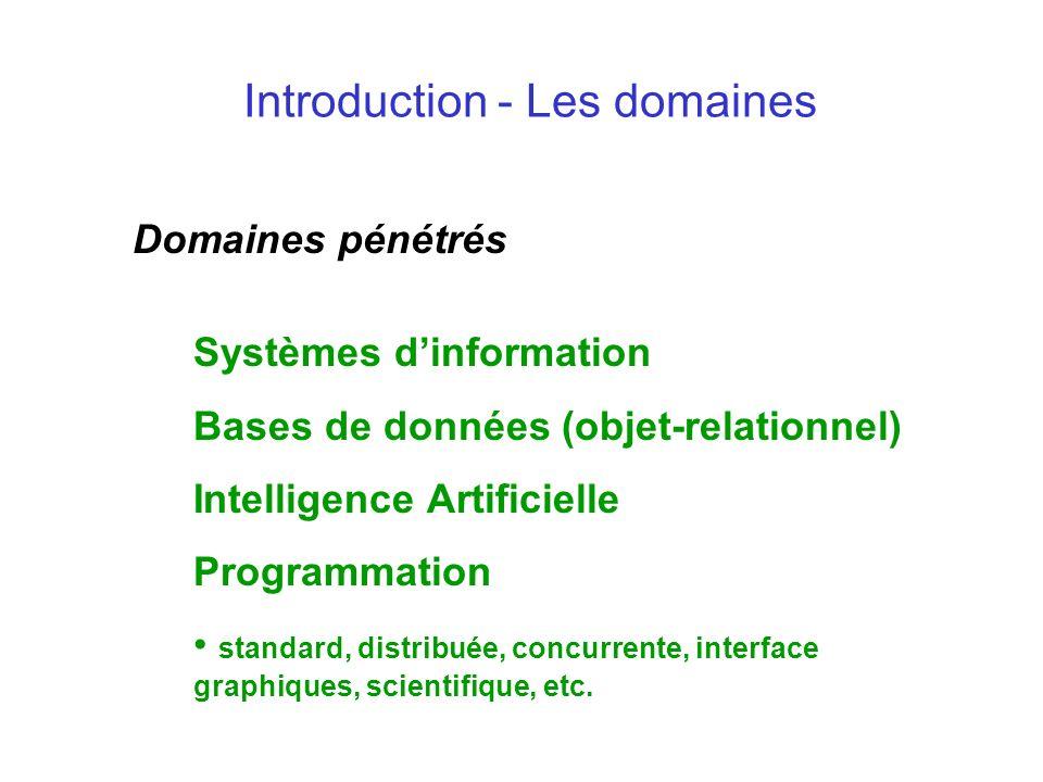 Introduction - Les domaines Domaines pénétrés Systèmes dinformation Bases de données (objet-relationnel) Intelligence Artificielle Programmation stand