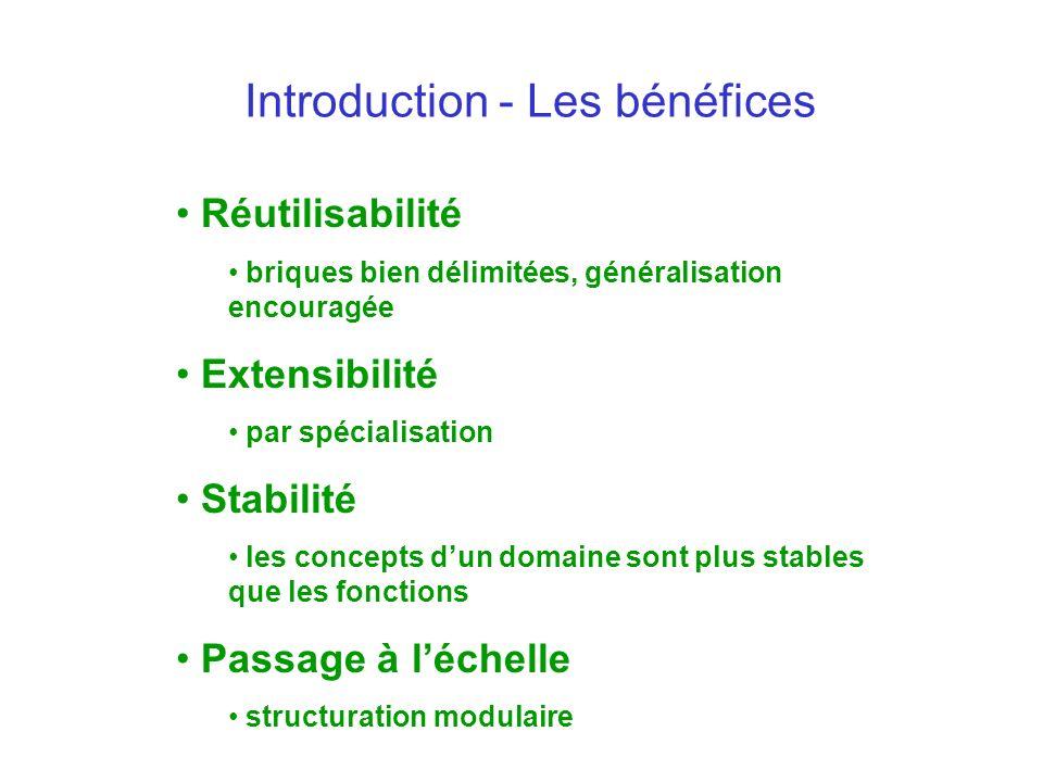 Introduction - Les bénéfices Réutilisabilité briques bien délimitées, généralisation encouragée Extensibilité par spécialisation Stabilité les concept
