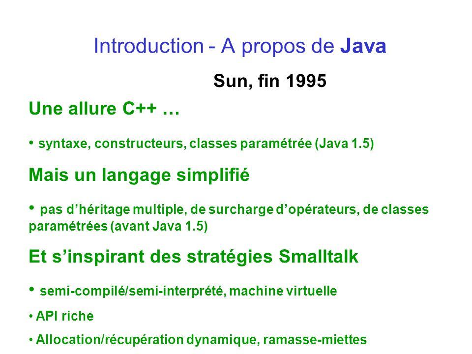 Introduction - A propos de Java Sun, fin 1995 Une allure C++ … syntaxe, constructeurs, classes paramétrée (Java 1.5) Mais un langage simplifié pas dhé