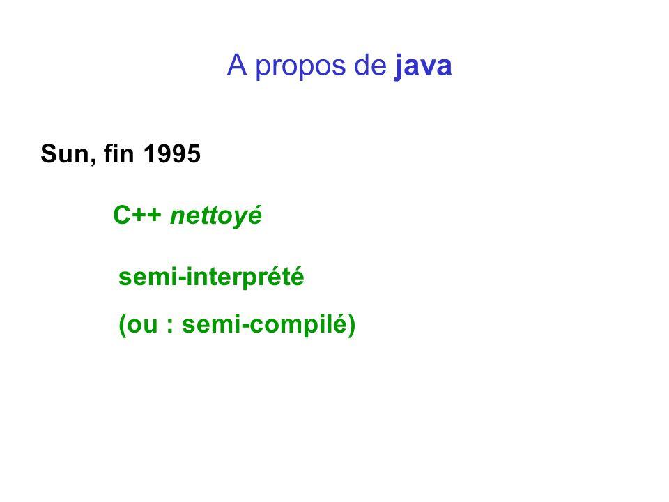 A propos de java Sun, fin 1995 C++ nettoyé semi-interprété (ou : semi-compilé)