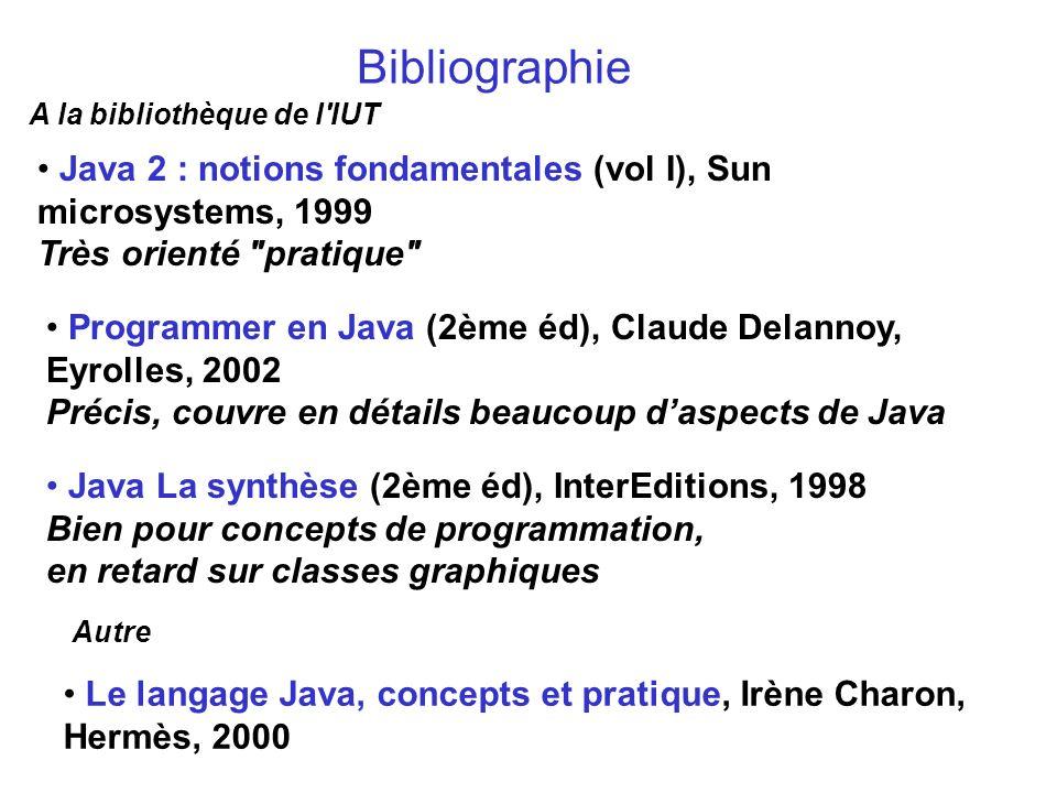 Bibliographie Java 2 : notions fondamentales (vol I), Sun microsystems, 1999 Très orienté