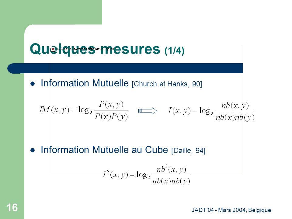 JADT 04 - Mars 2004, Belgique 16 Quelques mesures (1/4) Information Mutuelle [Church et Hanks, 90] Information Mutuelle au Cube [Daille, 94]