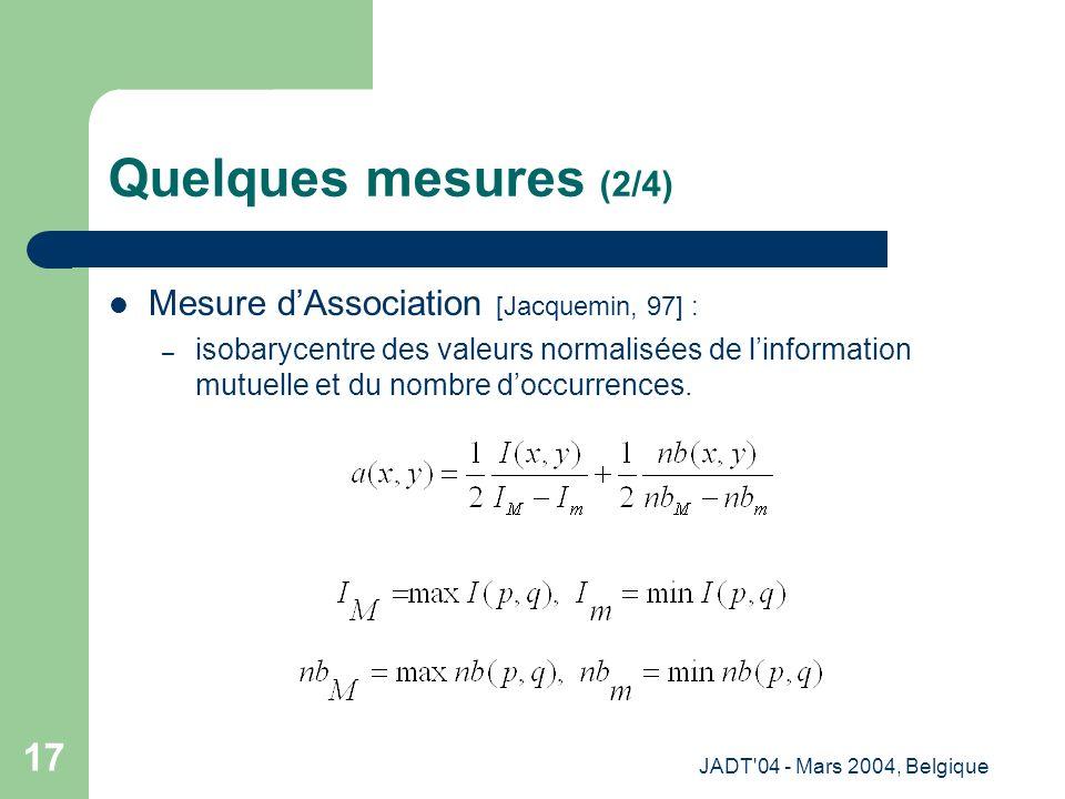 JADT 04 - Mars 2004, Belgique 17 Quelques mesures (2/4) Mesure dAssociation [Jacquemin, 97] : – isobarycentre des valeurs normalisées de linformation mutuelle et du nombre doccurrences.
