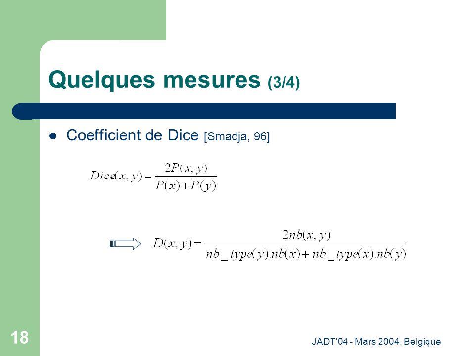JADT'04 - Mars 2004, Belgique 18 Quelques mesures (3/4) Coefficient de Dice [Smadja, 96]