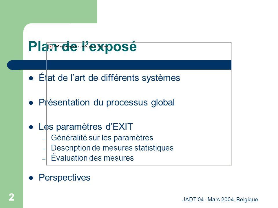 JADT 04 - Mars 2004, Belgique 2 Plan de lexposé État de lart de différents systèmes Présentation du processus global Les paramètres dEXIT – Généralité sur les paramètres – Description de mesures statistiques – Évaluation des mesures Perspectives