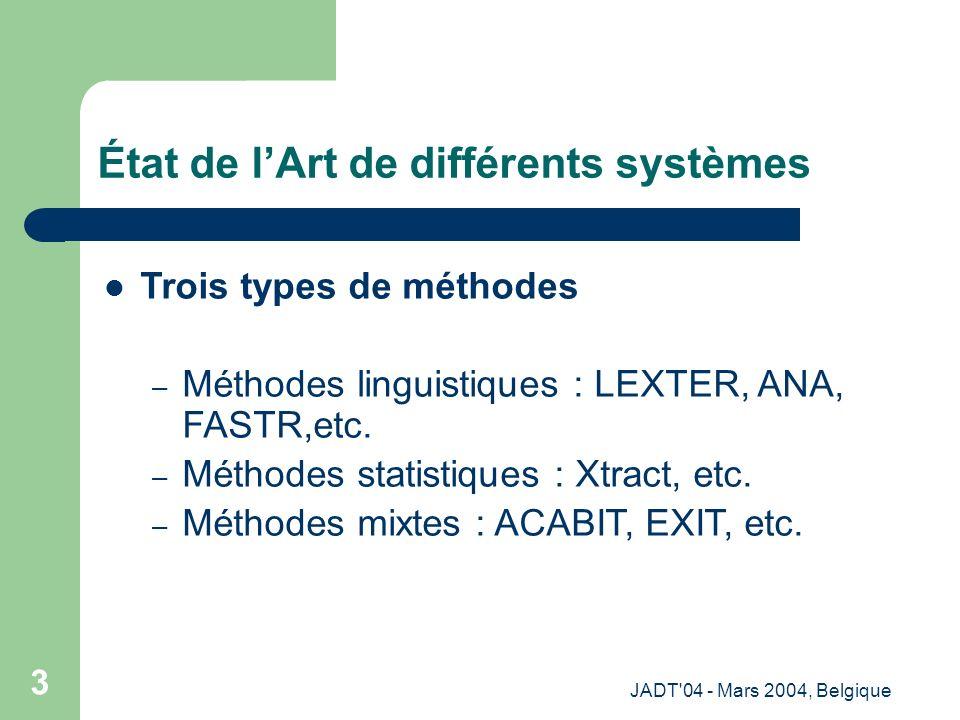 JADT 04 - Mars 2004, Belgique 4 Processus global en terminologie Corpus étiqueté avec ETIQ [Amrani et al., 04] Termes verbaux Collocations verbales + + + Termes variants + + + Corpus brut --------------- --------------- --------------- ----------- Corpus nettoyé --------------- --------------- --------------- ----------- Termes variants + + + Termes Nom-Prép-Nom avec le rapport de vraisemblance 1.