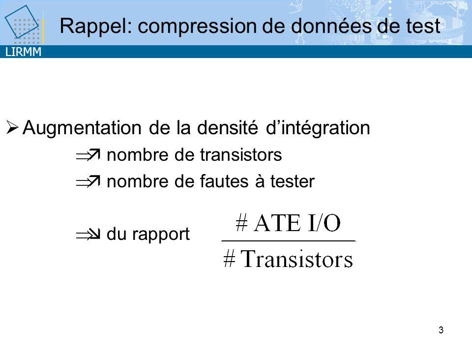 LIRMM 3 Rappel: compression de données de test Augmentation de la densité dintégration nombre de transistors nombre de fautes à tester du rapport