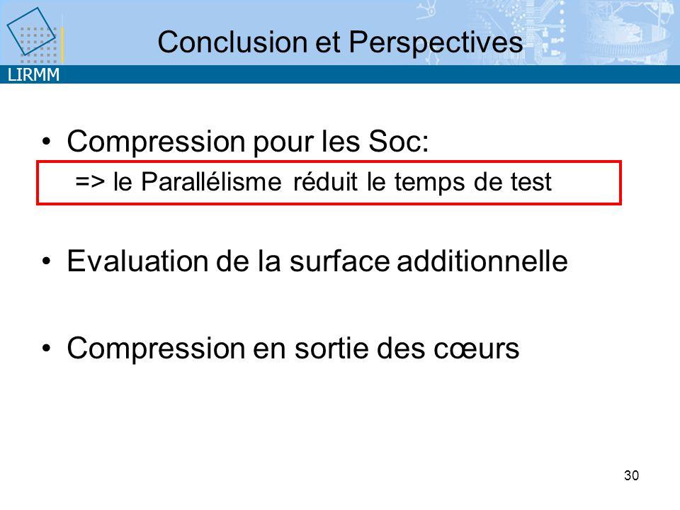 LIRMM 30 Conclusion et Perspectives Compression pour les Soc: => le Parallélisme réduit le temps de test Evaluation de la surface additionnelle Compression en sortie des cœurs