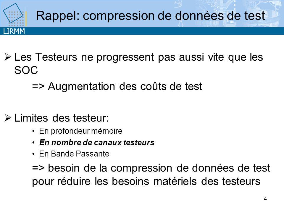 LIRMM 4 Les Testeurs ne progressent pas aussi vite que les SOC => Augmentation des coûts de test Limites des testeur: En profondeur mémoire En nombre de canaux testeurs En Bande Passante => besoin de la compression de données de test pour réduire les besoins matériels des testeurs Rappel: compression de données de test
