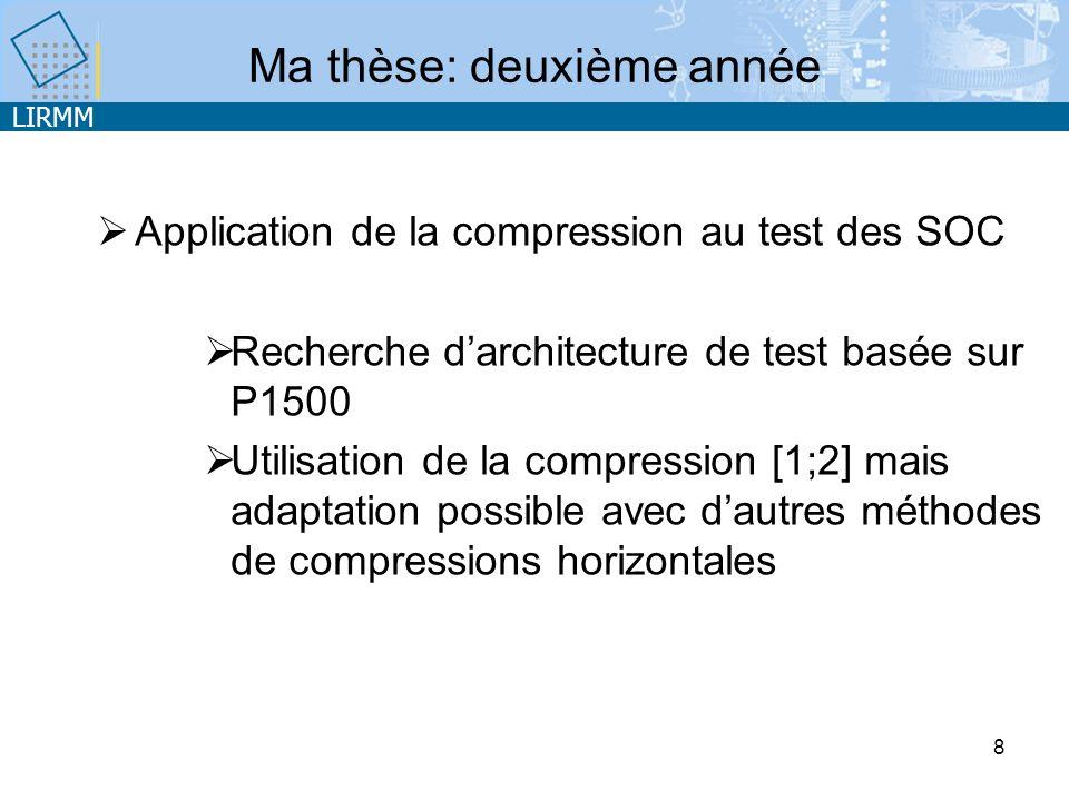 LIRMM 8 Application de la compression au test des SOC Recherche darchitecture de test basée sur P1500 Utilisation de la compression [1;2] mais adaptation possible avec dautres méthodes de compressions horizontales Ma thèse: deuxième année