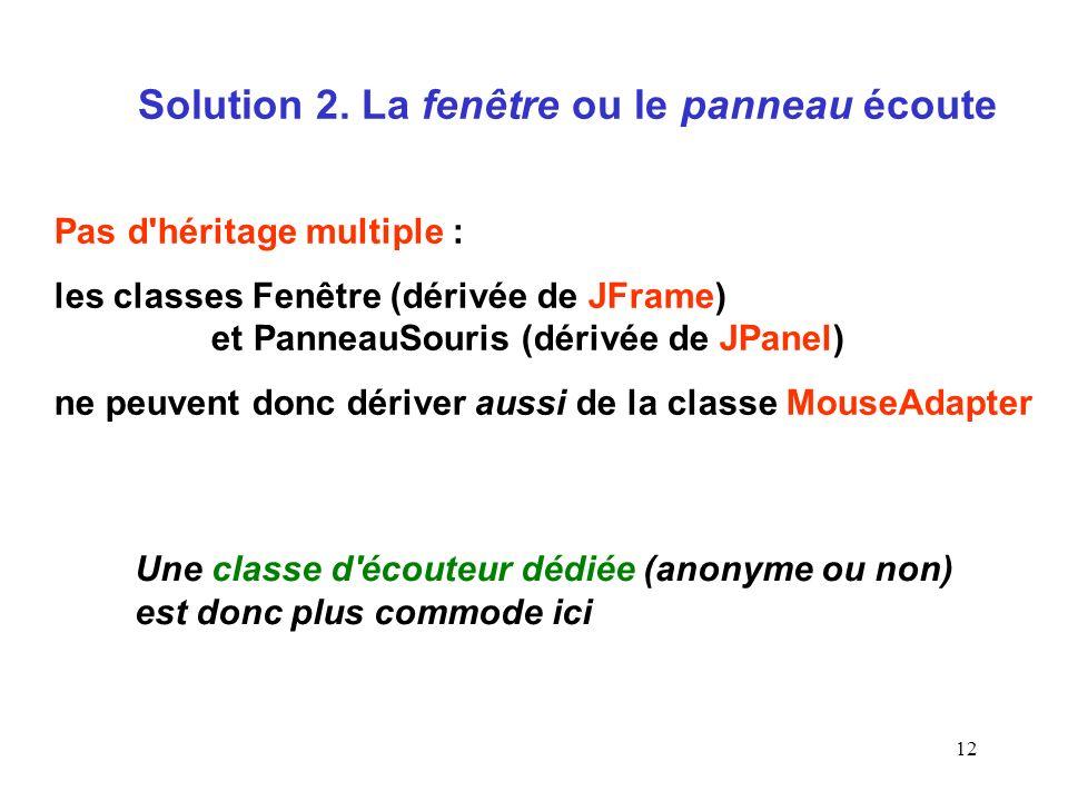 12 Solution 2. La fenêtre ou le panneau écoute Pas d'héritage multiple : les classes Fenêtre (dérivée de JFrame) et PanneauSouris (dérivée de JPanel)