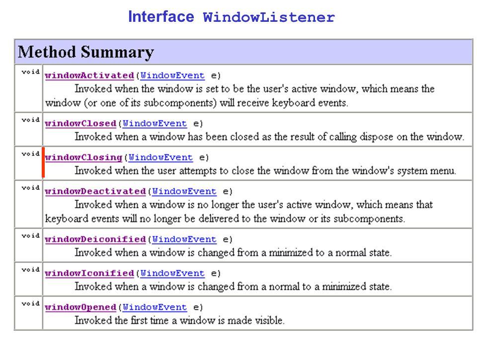 15 public class Fenetre extends JFrame { …………… public Fenetre() // constructeur { …………… Terminator t = new Terminator(); addWindowListener(t); } ……… } Ecrivons la classe Terminator