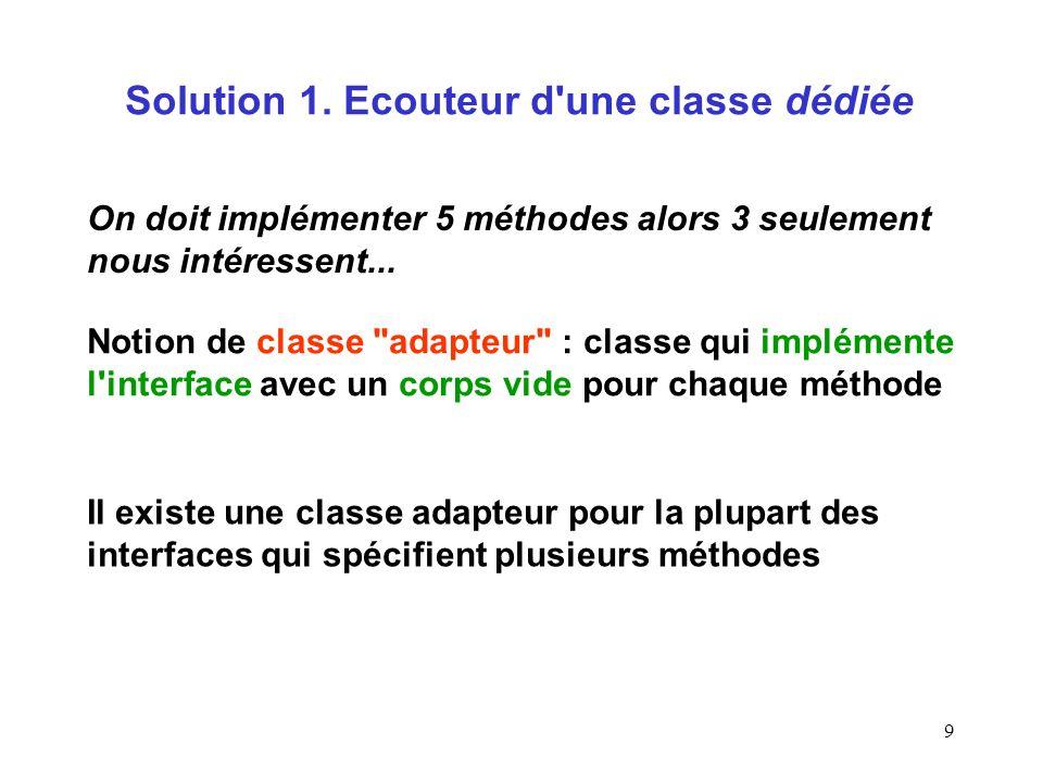 9 Solution 1. Ecouteur d'une classe dédiée Notion de classe