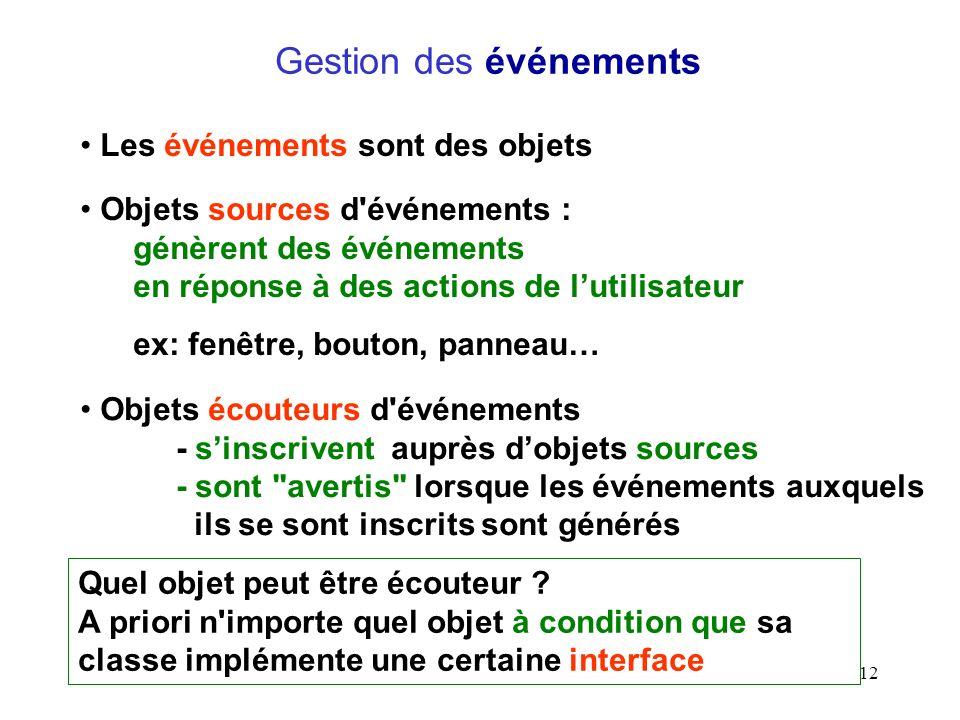 12 Gestion des événements Objets sources d'événements : génèrent des événements en réponse à des actions de lutilisateur ex: fenêtre, bouton, panneau…