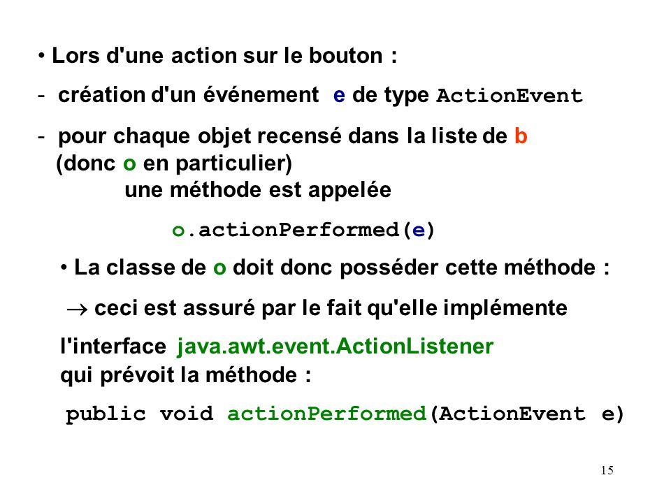 15 Lors d'une action sur le bouton : - création d'un événement e de type ActionEvent - pour chaque objet recensé dans la liste de b (donc o en particu