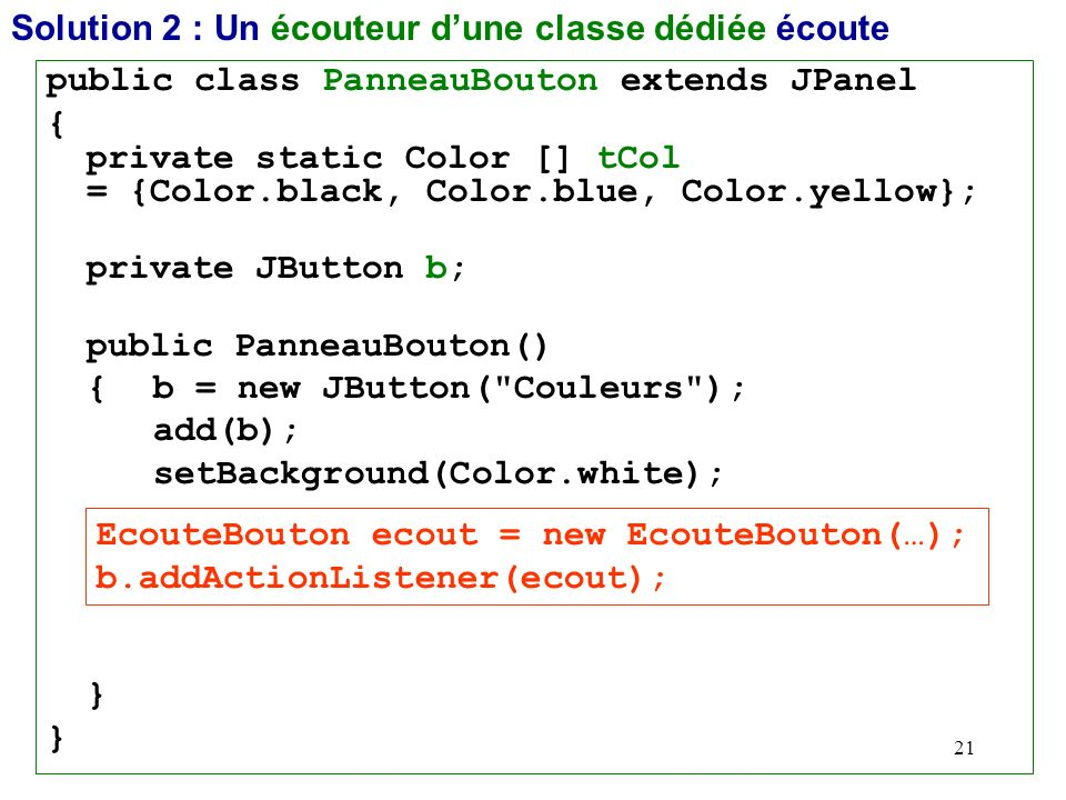 21 Solution 2 : Un écouteur dune classe dédiée écoute public class PanneauBouton extends JPanel { private static Color [] tCol = {Color.black, Color.b
