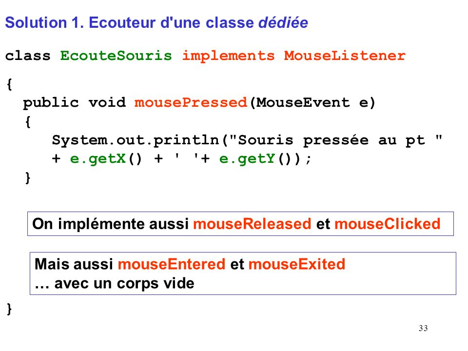 33 Solution 1. Ecouteur d'une classe dédiée class EcouteSouris implements MouseListener { public void mousePressed(MouseEvent e) { System.out.println(