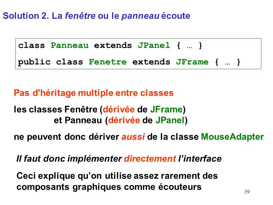 39 Solution 2. La fenêtre ou le panneau écoute Pas d'héritage multiple entre classes les classes Fenêtre (dérivée de JFrame) et Panneau (dérivée de JP