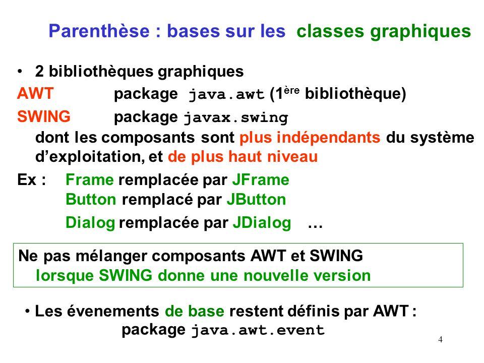 4 Parenthèse : bases sur les classes graphiques 2 bibliothèques graphiques AWTpackage java.awt (1 ère bibliothèque) SWING package javax.swing dont les