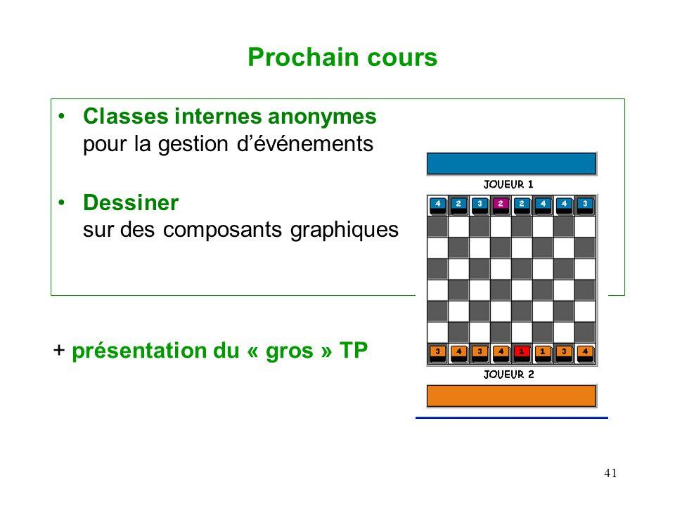 41 Prochain cours Classes internes anonymes pour la gestion dévénements Dessiner sur des composants graphiques + présentation du « gros » TP