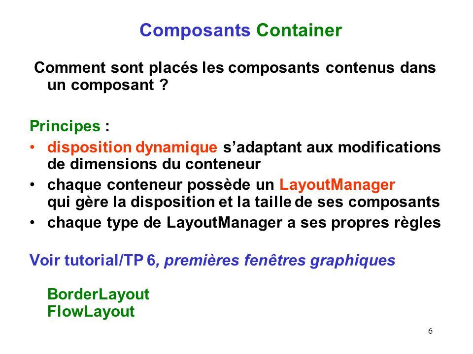 6 Composants Container Comment sont placés les composants contenus dans un composant ? Principes : disposition dynamique sadaptant aux modifications d