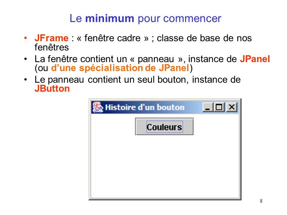 8 Le minimum pour commencer JFrame : « fenêtre cadre » ; classe de base de nos fenêtres La fenêtre contient un « panneau », instance de JPanel (ou dun