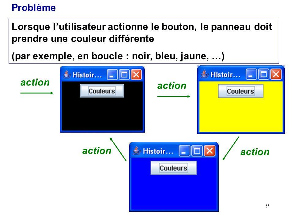 9 Lorsque lutilisateur actionne le bouton, le panneau doit prendre une couleur différente (par exemple, en boucle : noir, bleu, jaune, …) Problème act