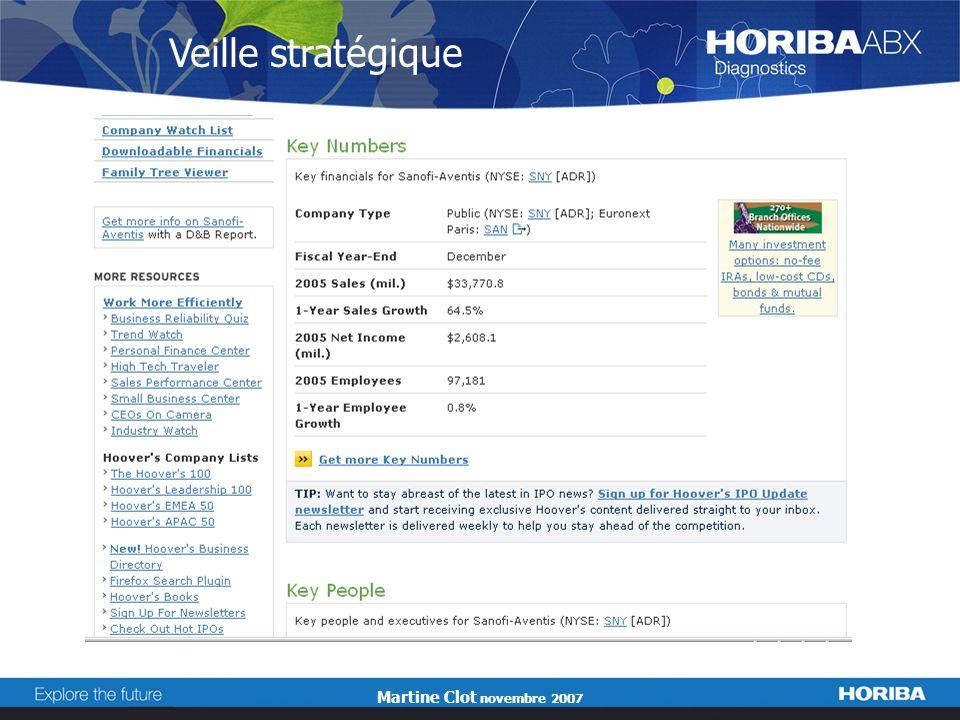 Martine Clot novembre 2007 Veille stratégique