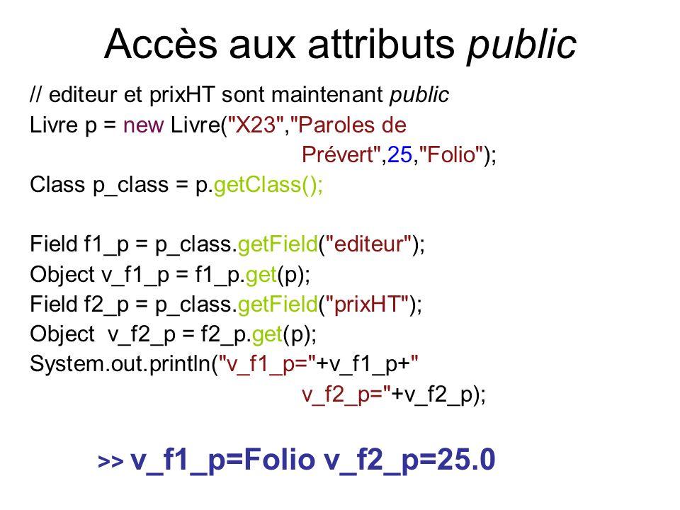 Accès aux attributs public // editeur et prixHT sont maintenant public Livre p = new Livre( X23 , Paroles de Prévert ,25, Folio ); Class p_class = p.getClass(); Field f1_p = p_class.getField( editeur ); Object v_f1_p = f1_p.get(p); Field f2_p = p_class.getField( prixHT ); Object v_f2_p = f2_p.get(p); System.out.println( v_f1_p= +v_f1_p+ v_f2_p= +v_f2_p); >> v_f1_p=Folio v_f2_p=25.0
