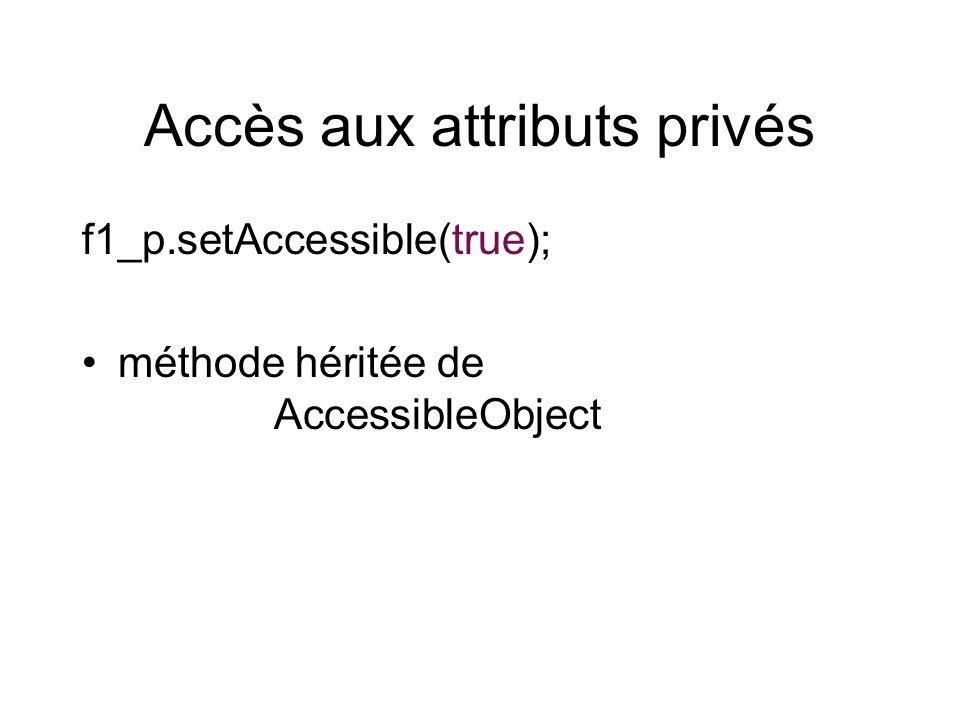Accès aux attributs privés f1_p.setAccessible(true); méthode héritée de AccessibleObject