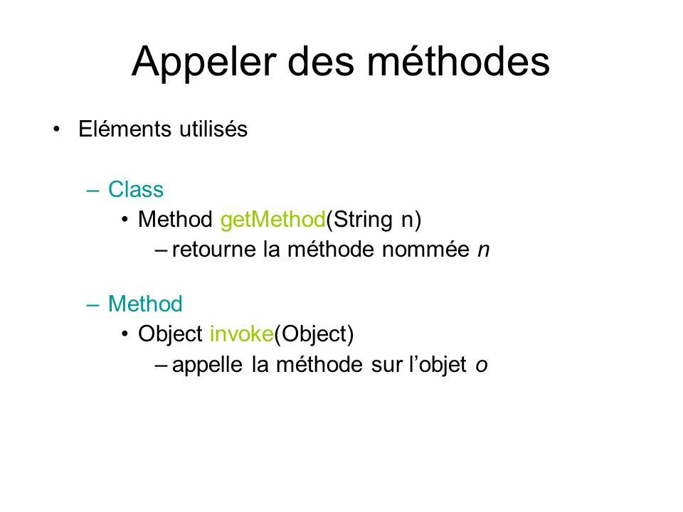 Appeler des méthodes Eléments utilisés –Class Method getMethod(String n) –retourne la méthode nommée n –Method Object invoke(Object) –appelle la méthode sur lobjet o