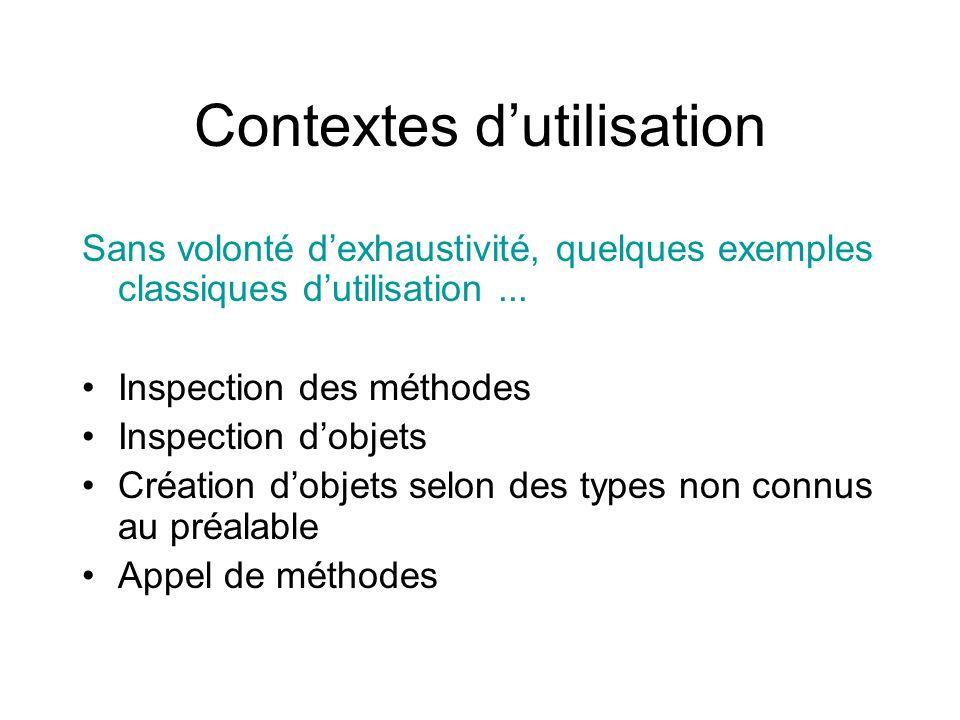 Contextes dutilisation Sans volonté dexhaustivité, quelques exemples classiques dutilisation...