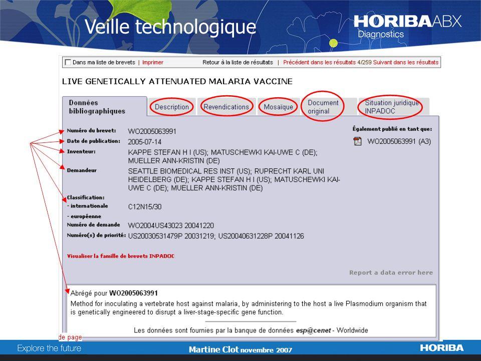 Martine Clot novembre 2007 Veille technologique
