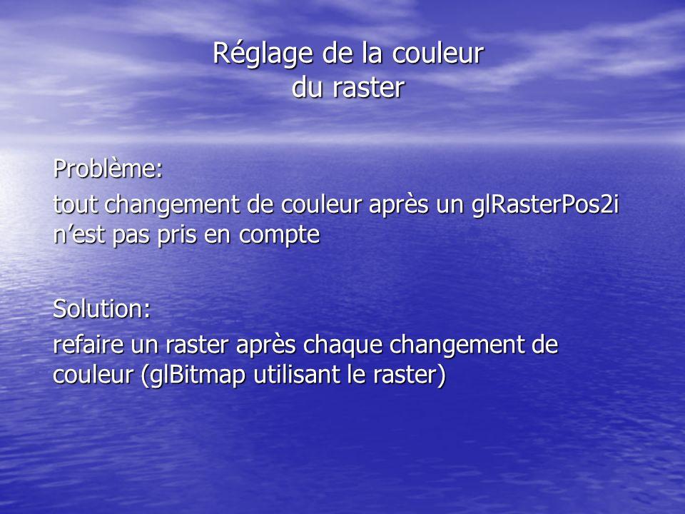 Réglage de la couleur du raster Problème: tout changement de couleur après un glRasterPos2i nest pas pris en compte Solution: refaire un raster après chaque changement de couleur (glBitmap utilisant le raster)