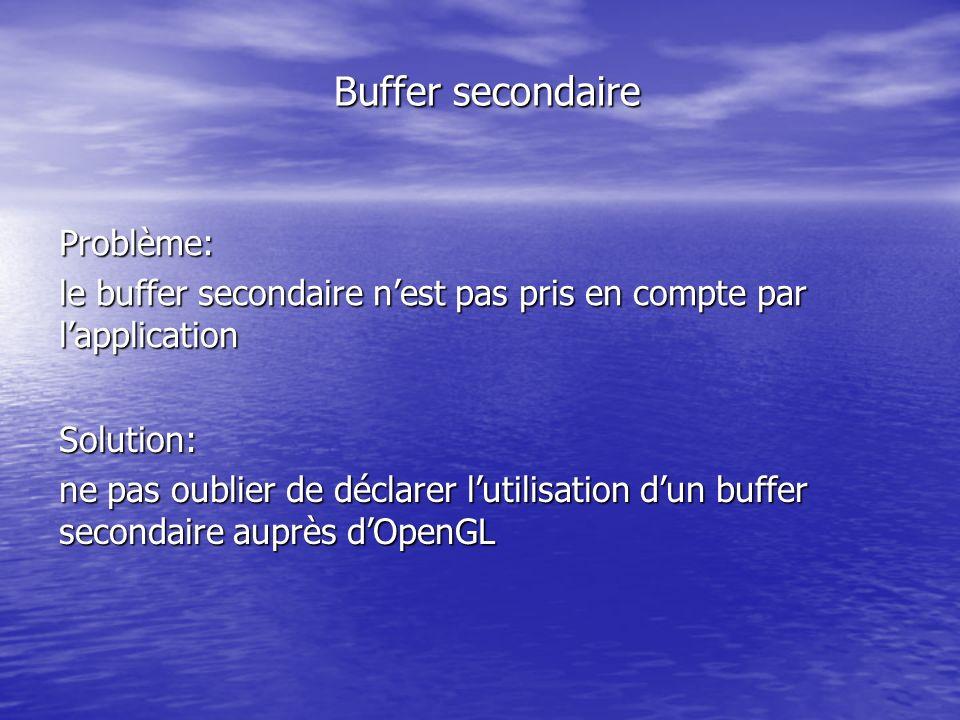Buffer secondaire Problème: le buffer secondaire nest pas pris en compte par lapplication Solution: ne pas oublier de déclarer lutilisation dun buffer secondaire auprès dOpenGL