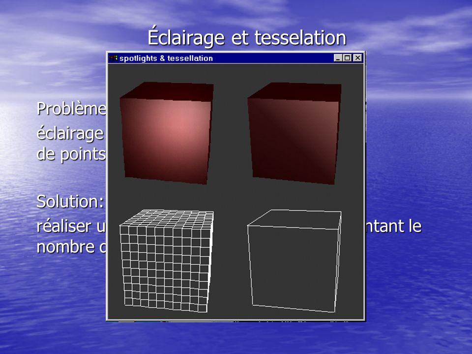 Éclairage et tesselation Problème: éclairage peu nuancé dû au faible nombre de points Solution: réaliser une meilleure tesselation en augmentant le nombre de points de lobjet géométrique