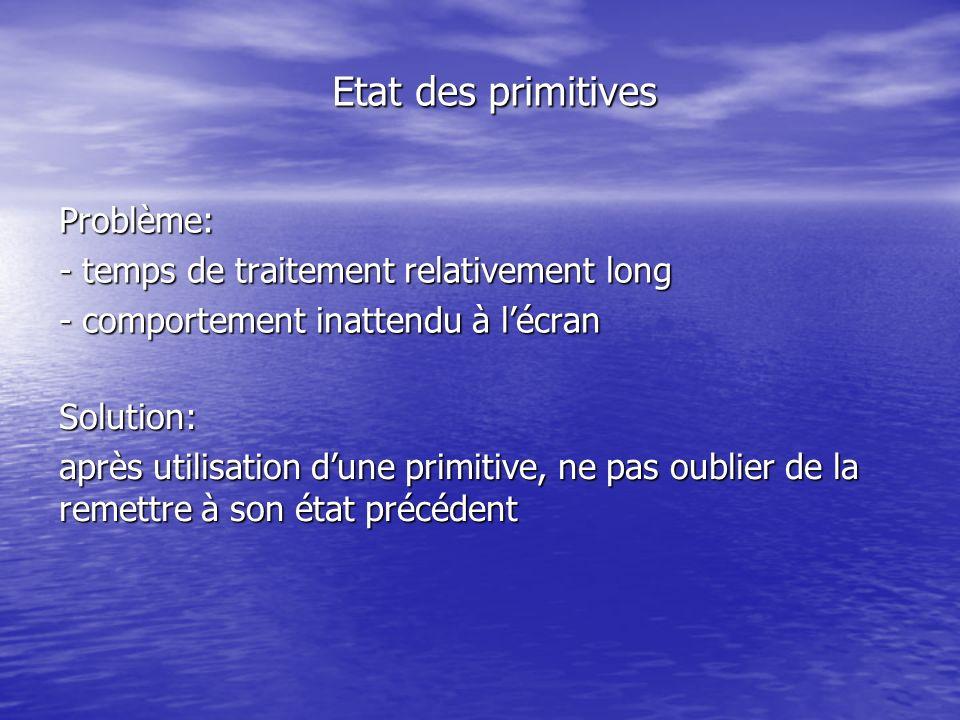 Etat des primitives Problème: - temps de traitement relativement long - comportement inattendu à lécran Solution: après utilisation dune primitive, ne pas oublier de la remettre à son état précédent