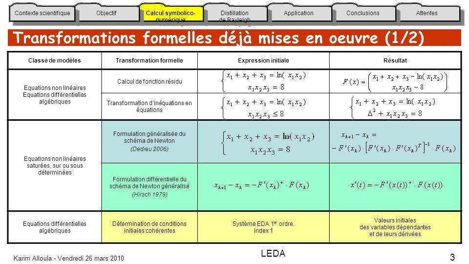 Attentes Conclusions Application Distillation de Rayleigh Calcul symbolico- numérique Calcul symbolico- numérique Objectif Contexte scientifique Karim Alloula - Vendredi 26 mars 2010 3 Transformations formelles déjà mises en oeuvre (1/2) Classe de modèlesTransformation formelleExpression initialeRésultat Equations non linéaires Equations différentielles algébriques Calcul de fonction résidu Transformation dinéquations en équations Equations non linéaires saturées, sur ou sous déterminées Formulation généralisée du schéma de Newton (Dedieu 2006) Formulation différentielle du schéma de Newton généralisé (Hirsch 1979) Equations différentielles algébriques Détermination de conditions initiales cohérentes Système EDA 1 er ordre, index 1 Valeurs initiales des variables dépendantes et de leurs dérivées LEDA