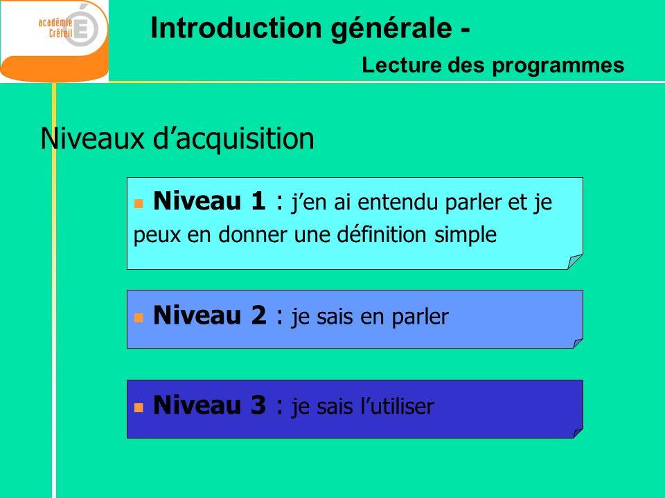 Niveaux dacquisition Niveau 1 : jen ai entendu parler et je peux en donner une définition simple Niveau 3 : je sais lutiliser Niveau 2 : je sais en pa