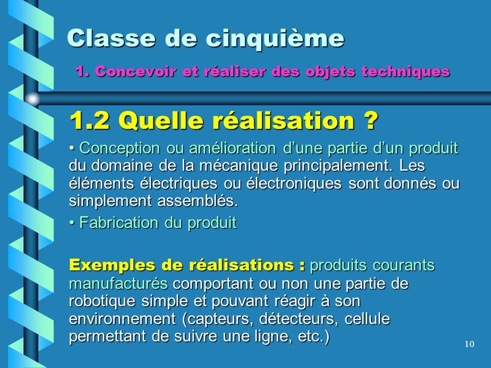 10 Classe de cinquième 1. Concevoir et réaliser des objets techniques 1.2 Quelle réalisation ? Conception ou amélioration dune partie dun produit du d